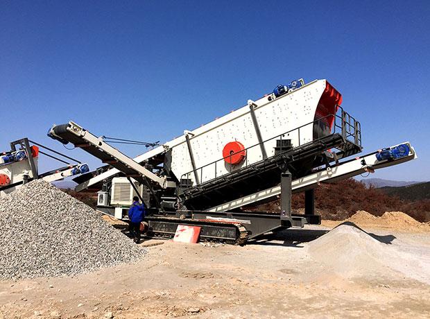 山东烟台时产300吨移动破碎生产线